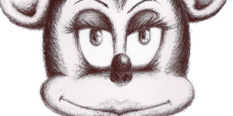 Ilustración: Sra. Mouse. Dibujo para el cartel de la sesión 157 de Dibujo Madrid: Unhappily Ever After, Historias no contadas del Reino Mágico (detalle/banner) | por: Gustavo A. Díaz G.