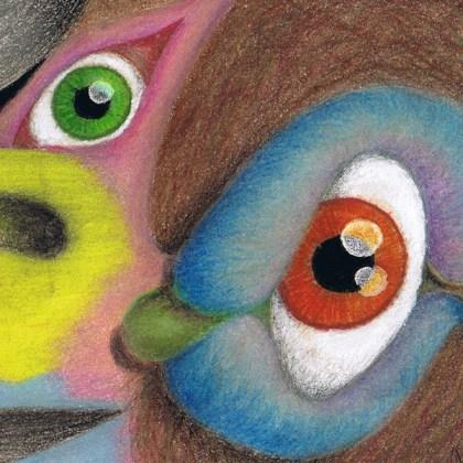 Dibujo: Gran Condor Sagrado con pájaro lenguado (detalle 3)  por Gustavo Adolfo Díaz G.