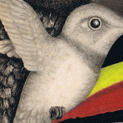 Dibujo: Gran Condor Sagrado con pájaro lenguado (detalle 4)| por Gustavo Adolfo Díaz G.