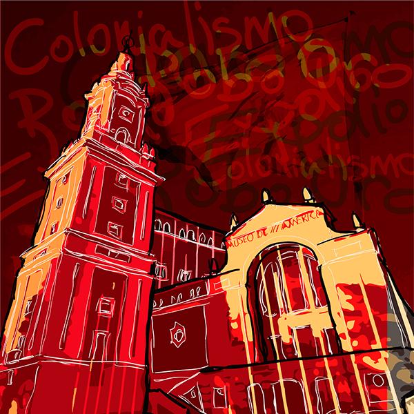 Ilustración caótica del museo
