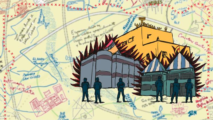 Ilustración basada en el CIE de Aluche con el mapa de fondo