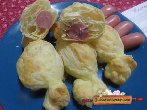 caramelle pasta sfoglia wurstel e fontina, saporite e facili da preparare
