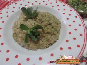 Cous cous di farro gorgonzola e portulaca