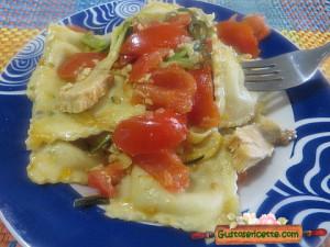 Ravioli colatura alici zucchine pesce spada