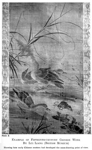 Plate X. EXAMPLE OF FIFTEENTH-CENTURY CHINESE WORK BY LUI LIANG (BRITISH MUSEUM) Showing how early Chinese masters had developed the mass-drawing point of view.