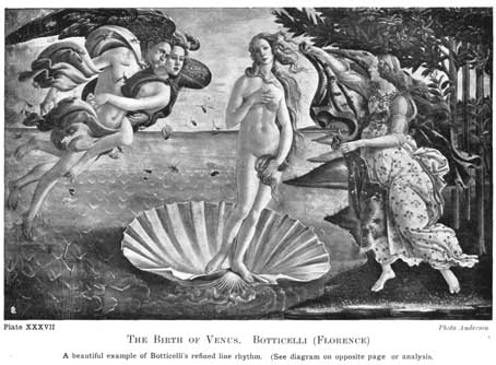 Plate XXXVII. THE BIRTH OF VENUS. BOTTICELLI (FLORENCE) A beautiful example of Botticelli's refined line rhythm. (See diagram on opposite page for analysis.) Photo Anderson