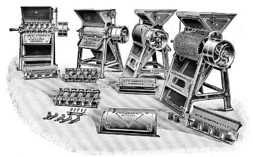Group of English Cylinder Coffee-Pulping Machines