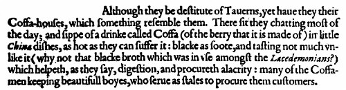 Early English Reference to Coffee by Sir George Sandys