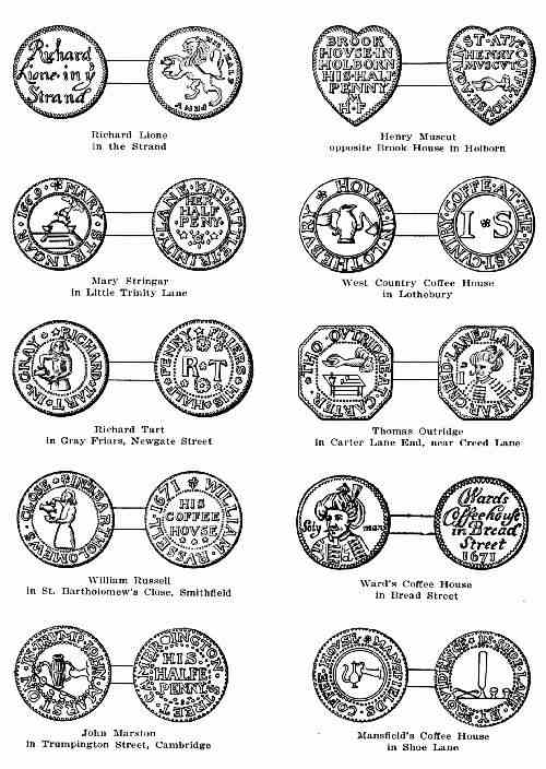 PLATE 2—COFFEE-HOUSE KEEPERS' TOKENS OF THE 17TH CENTURY