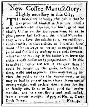 First Newspaper Advertisement Solely for coffee in the United States