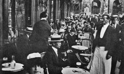 Sidewalk Annex, Café de la Paix, Paris, with Opera House in Background—Summer of 1918