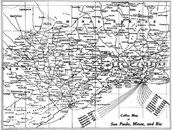 Coffee Map of São Paulo, Minãs, and Rio