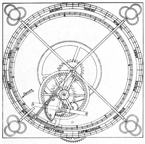 Astronomical Clock of de Dondi,showing gearing on the dial for Mercury andescapement crown wheel. Each of the seven sidewalls of the structure shown in figure 1 was fittedwith a dial.