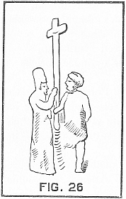 two men carrying a cross