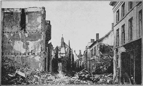 """(Newspaper Illustrations) THE """"KIEKENSTRAAT"""" (CHICKEN STREET) AFTER THE FIRST DAYS OF THE BOMBARDMENT"""