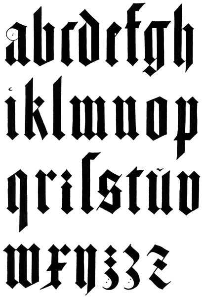 Antique form of the letters in black