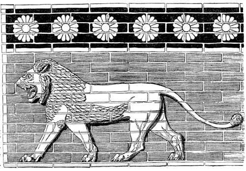 Enamelled brick relief