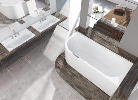 Schicke Badewanne mit Verkleidung sucht Wandanschluss.