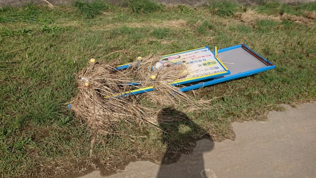 Sign by cycle path knocked down and covered in flotsam