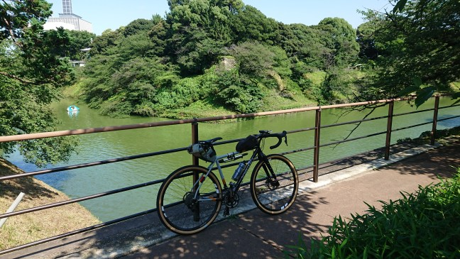Bicycle against railing overlooking Chidorigafuchi moat