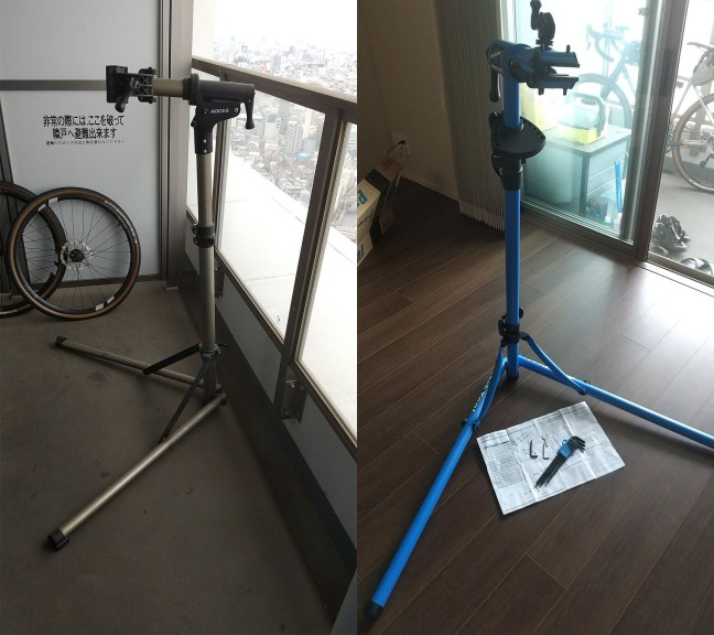 Photo montage comparing to bicycle repair stands