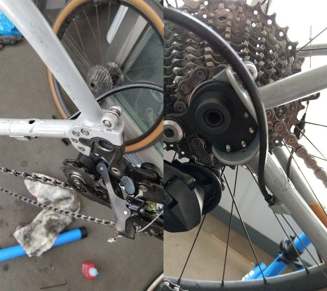 Photo montage showing bolts holding modular drop-out in Bicycle frame, with derailleur and cogs