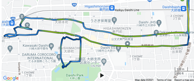 Portion of GPS record showing rider wandering about, lost