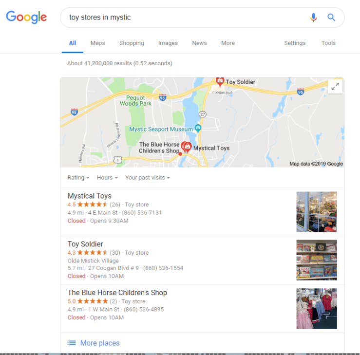 Top of the page results.