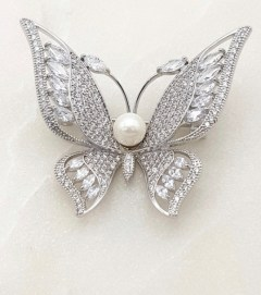 Chrysalini CABR0015 Butterfly Brooch silver or gold plated $35