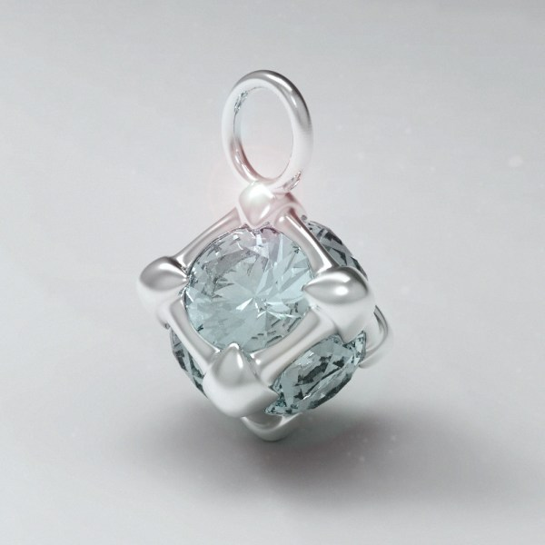 Six – A – High Gloss White Gold and Aquamarine