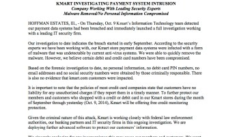 KMART INVESTIGATING PAYMENT SYSTEM INTRUSION