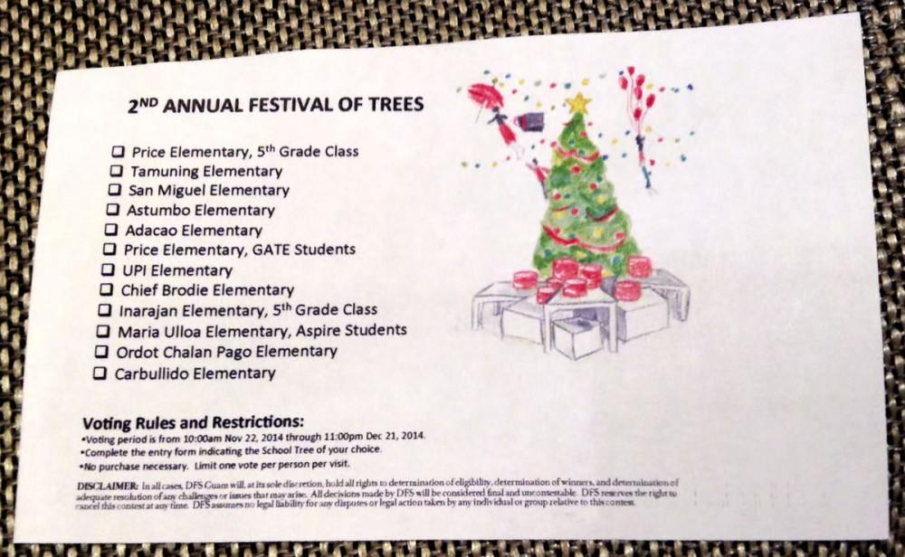 """第二回 """"Festival of Trees 2014"""" の投票用紙 (Tギャラリアグアム)"""