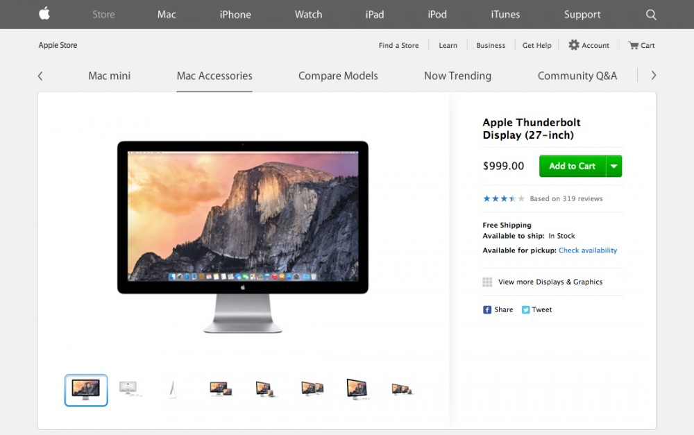 Apple - Thunderbolt Display アメリカ国内では$999.00