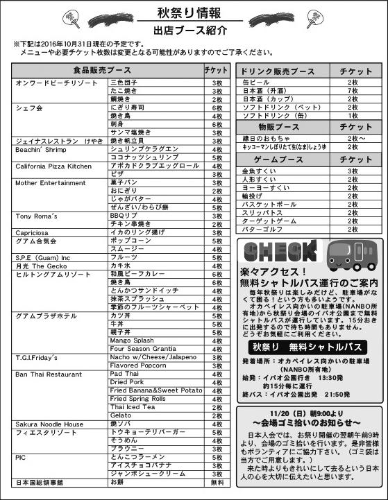 出展ブースの紹介 第37回 グアム日本人会秋祭り