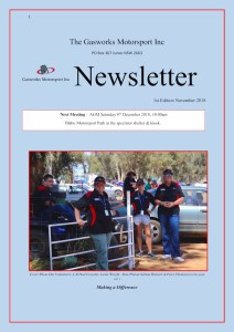Cover of the The Official Newsletter of the Gasworks Car Club Junee NSW, Volume 01 (December 2018)