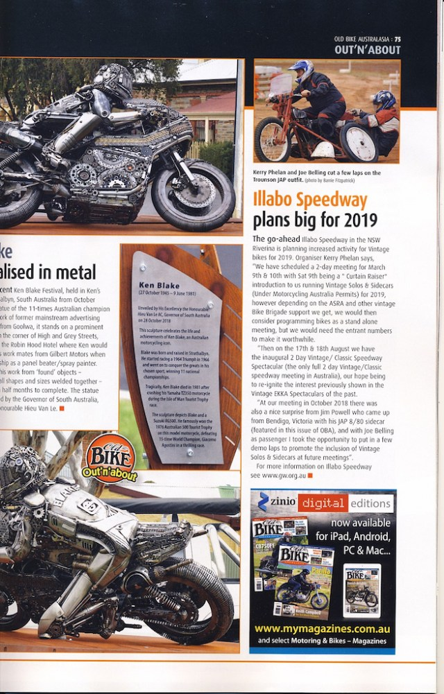 Illabo Speedway plans big for 2019 Old Bike Australiasia Issue 77