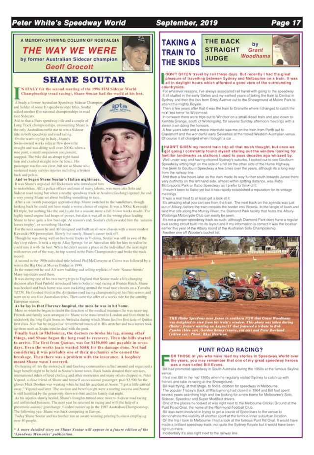Page 22, September 2019 issue of Speedway World