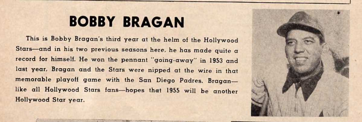 Bobby Bragan - from 1955 Hollywood Stars Program b