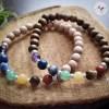 Bracelet 7 Chakras en Pierres et Bois