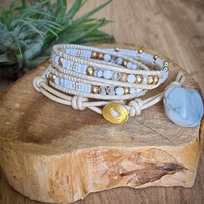 Bracelet Wrap en Howlite