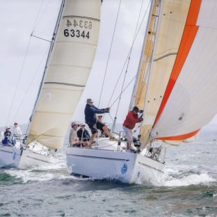 """G-whizz (briefly) ahead of """"Koko"""" an Elan 37. Sail Port Stephens 2015. Picture Craig Greenhill Saltwater Images"""