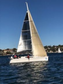 Elan 340 G-whizz reefed for a windy Sunday