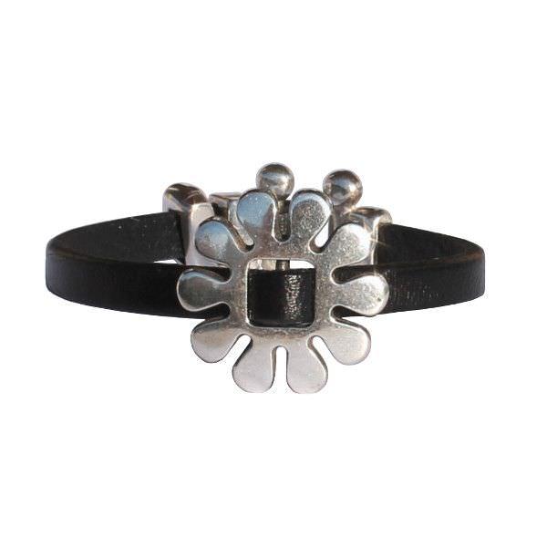 "Bracelet enfant fille cuir ""Marguerite"" noir"