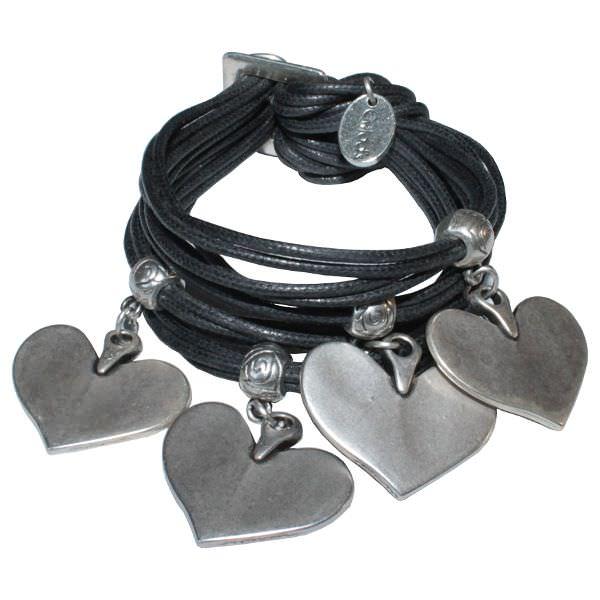 Bracelet femme cordon coton cire cœur gris anthracite