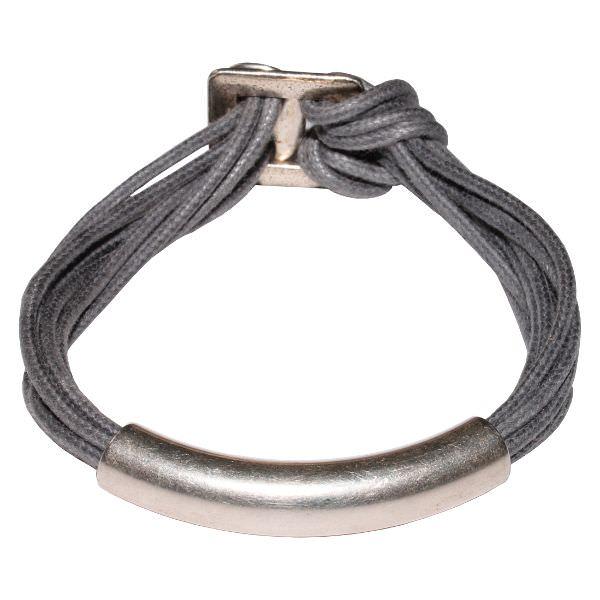 Bracelet femme cordon coton ciré tube gris béton