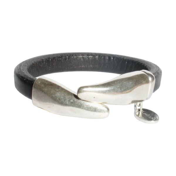 Bracelet femme demi jonc cuir régaliz noir
