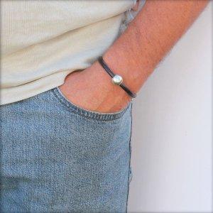 """Bracelet homme cordon cuir """"Boule"""" noir 2"""