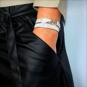 Bracelet cuir femme double tour façon reptile bordure chaînette 2