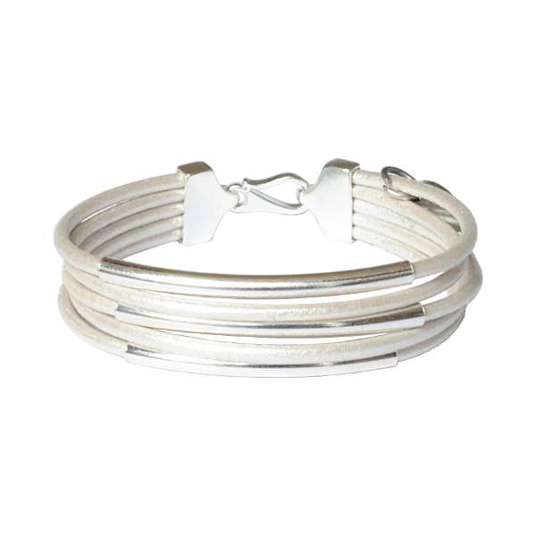 Bracelet enfant fille cuir cordon multi tubes argent massif