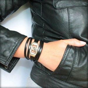 Bracelet cuir femme triple tour fermoir gros maillon noir 3